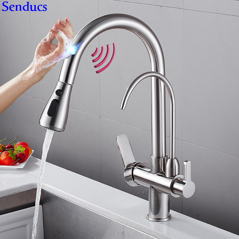 Touch Water Filter Faucet Senducs Pull Out Touch Sensing Kitchen Faucet Quality Brass Automatic Brushed Sensor Kitchen Mixer Tap