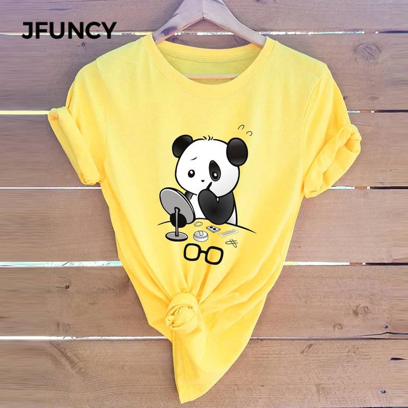 2019 летние женские футболки с рисунком панды, модная женская футболка, 100% хлопок, круглый вырез, короткий рукав, футболки, новые повседневные ...