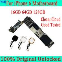 Met/Zonder Touch Id Voor Iphone 6 Moederbord + Gratis Icloud, originele Ontgrendeld Voor Iphone 6 Logic Board 16Gb 64Gb 128Gb