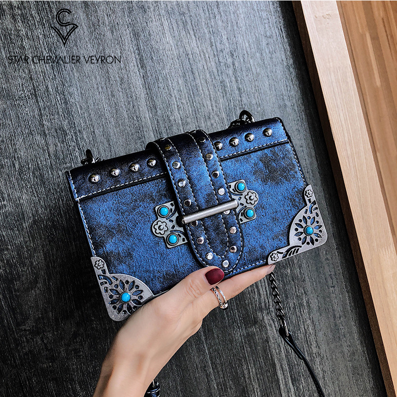SCV Retro Rivet Crossbody Bags for Women Korean Ladies Small Square Messenger Bag Fashion Wild Women Shoulder Bag Female Handbag