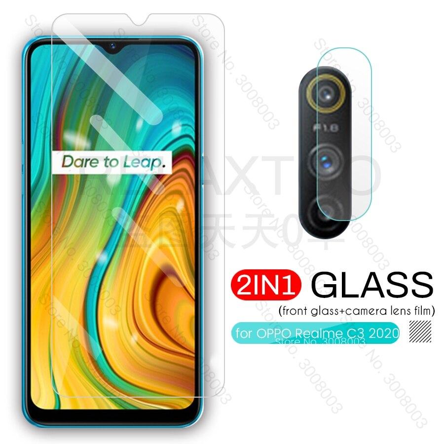 Realme c3 vidro 2-em-1 protetores de câmera para oppo real me c3 2020 realmi raelme c 3 6.5 stestecapa de filme de tela de telefone steklo