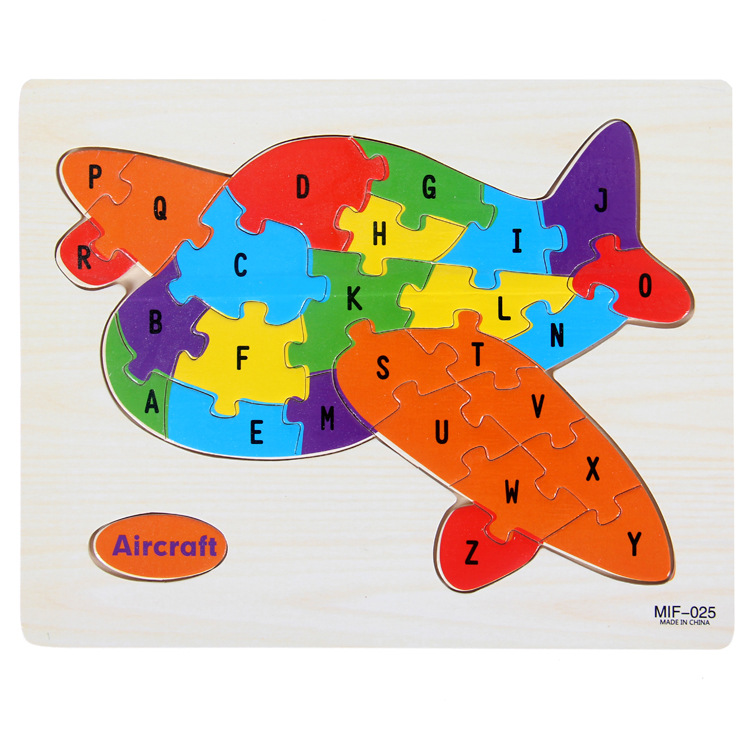 Kids Intelligence Baby Toy Wood Puzzles Cognition English Letter Building Wooden Animal Jigsaw Puzzle Toys for Children Toddler 5