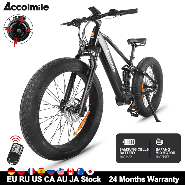 Powerful Electric Bike 48V 750W Bafang Mid Motor Mountain E-bike 26inch Fat Adult Men eBike With 14Ah Samsung Battery E Bicycle