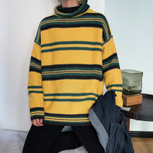 Winter Turtleneck Sweater Men Warm Fashion Contrast Casual Knit Sweter Loose Long Sleeve Striped Clothes