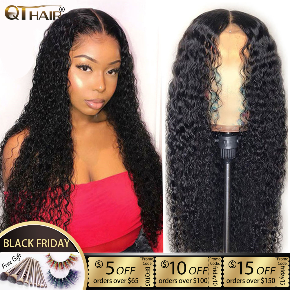 Curly Hair Wig 4*4 Lace Closure Human Hair Wigs For Women Pre Plucked Hairline With Baby Hair Brazilian Remy Hair QT