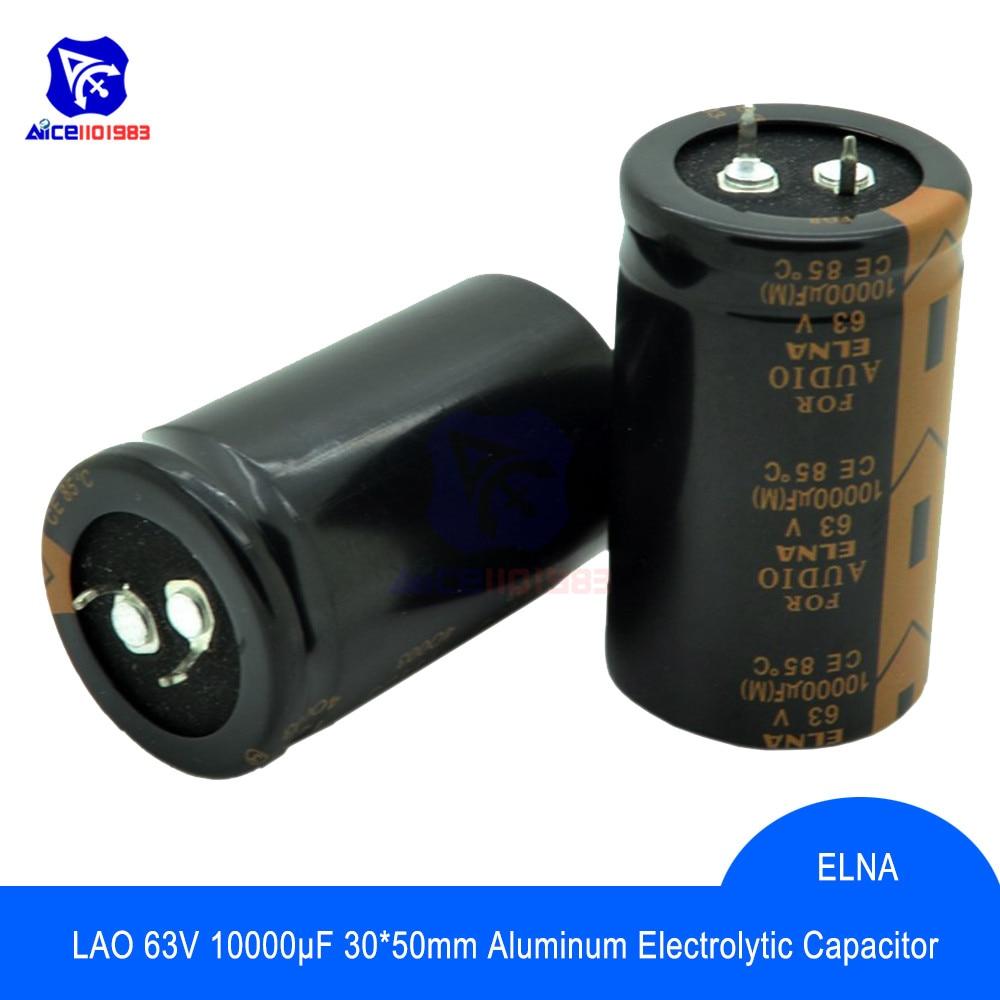 Diymore Original ELNA Audio Capacitor LAO 63V 10000μF Capacitance 30*50mm Aluminum Electrolytic Capacitor 63V10000μF