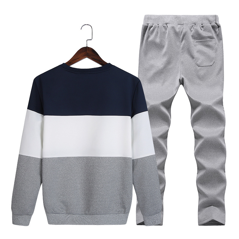 2018 Spring And Autumn New Style Men Mixed Colors Pullover Hoody Young MEN'S Crew Neck Large Size Fashion Sports Set Men's