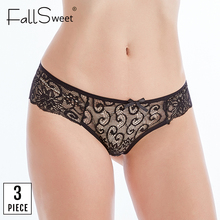 Fallsweet Panties Transparent Briefs Women Femme 3pcs/Pack Sexy Lace Ultra-Thin