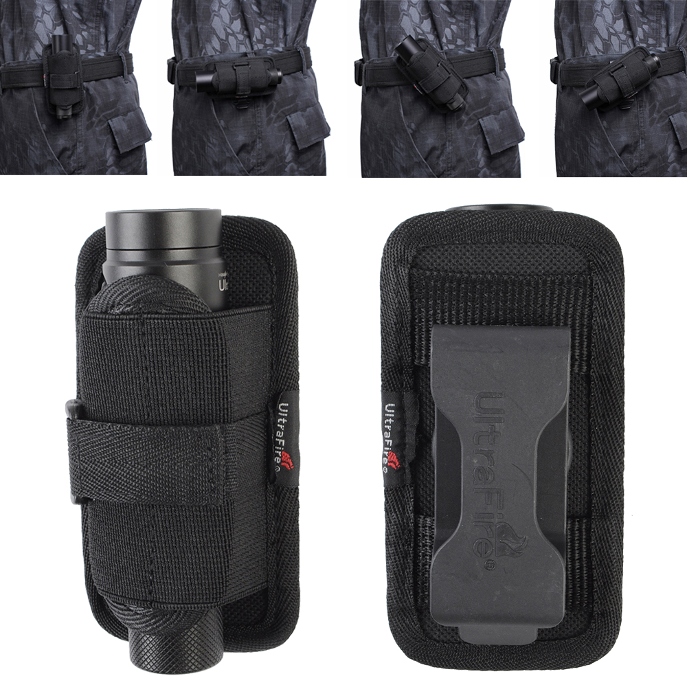 Tactical 360 Degrees Rotatable Flashlight Holster Pouch Holder Torch Cover Case Belt For Hunting Lighting Accessory Survival Kit