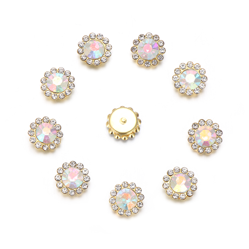 Flower-shaped Crystal Glass Stone Clothes Decoration Buttons Rhinestone