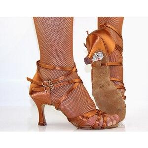 Женские туфли для латиноамериканских танцев BD, профессиональные танцевальные туфли на каблуке 7 см, 7,5 см, черного цвета, для сальсы, бачаты