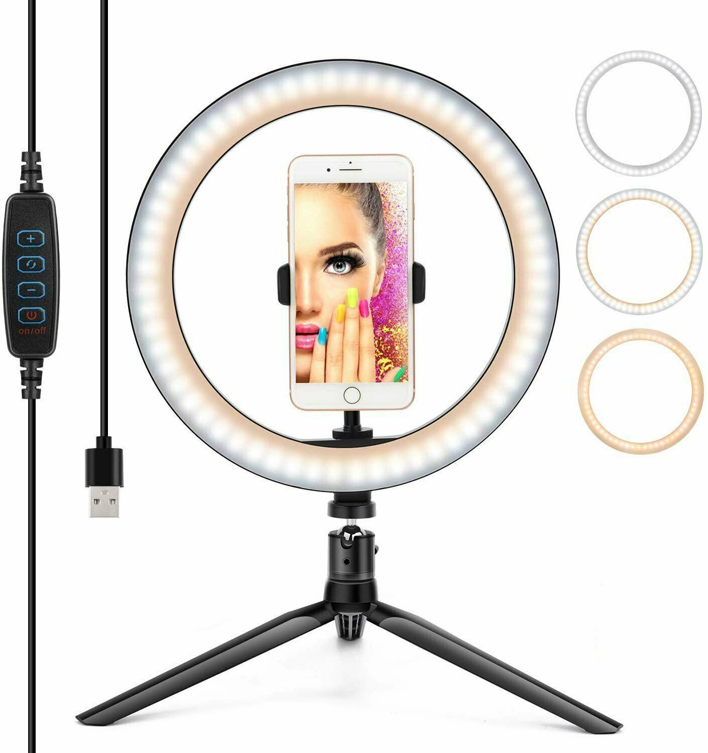 26CM USB Ring Light 5W 128Beads Photo Dimmable Studio Camera Makeup Light Kit Phone Video Light Lamp with Tripod for Smartphone