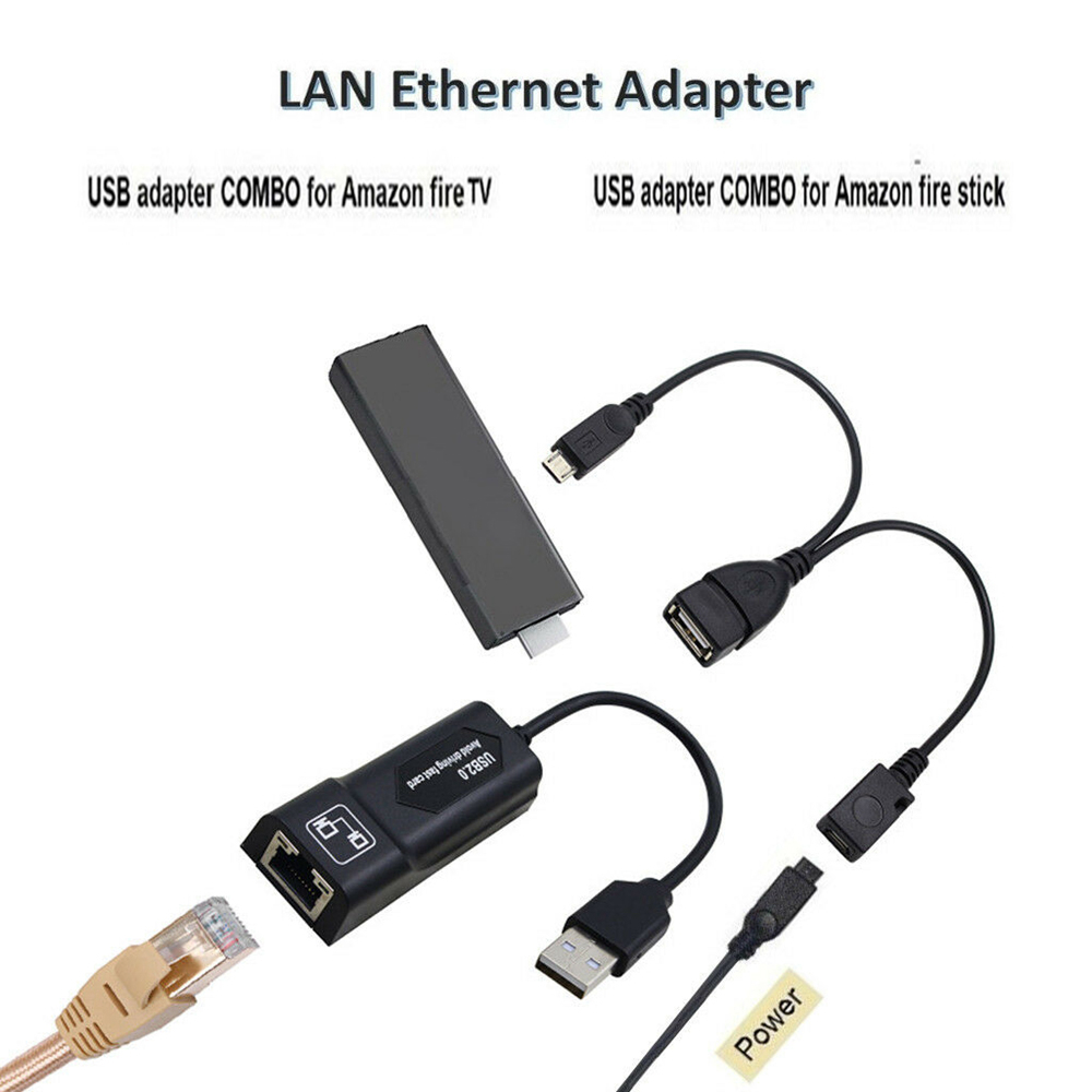 Adaptador lan ethernet para amazon fire tv, 3 ou stick gen 2 ou 2 parar o buffering mirco otg usb cabo de combinação adaptador 2.0