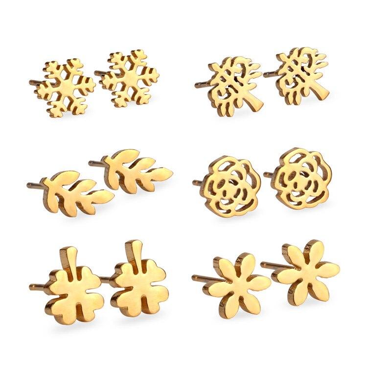 2016 New Arrival 6 Pairs Women's Fashion Elegant Stainless Steel Earrings Set, Anti-Allergy Stud Earrings , Gold/ Silver