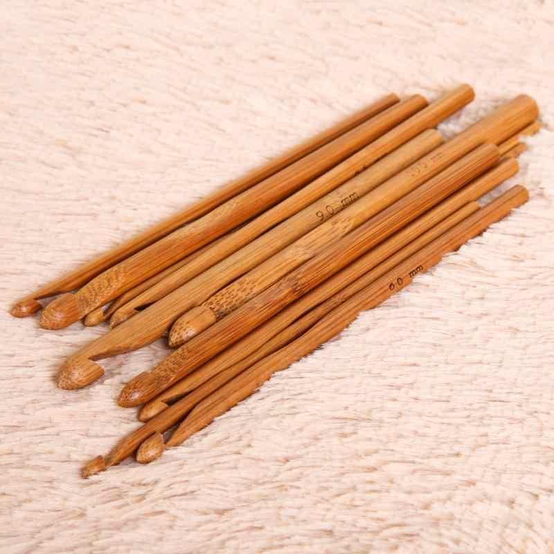 12 pcs 3mm-10mm 대나무 손잡이 크로 셰 뜨개질 후크 뜨개질 짜다 원사 공예 뜨개질 바늘 나무 크로 셰 뜨개질 후크 뜨개질 도구 액세서리