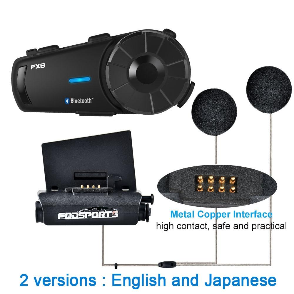 Image 2 - 2pcs Fodsport FX8 Motorcycle Helmet Headset 8 Riders Group Talk 1000m Bluetooth Moto Intercom Wireless BT Interphone With FMHelmet Headsets   -
