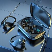 Bluetooth 5.1 fones de ouvido baixo verdadeiro esporte estéreo sem fio display led orelha gancho handsfree fones com microfone e caixa carregamento