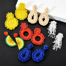 Bohemia Seed Beads Big Dangle Earrings Brinco For Women Ethnic Geometric Crystal Earring Statement Party Jewelry Femme Gifts(China)