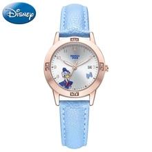 Donald Duck Children Leather Strap Flower Watch Lovely Pink Blue Pretty Girls Wristwatch Students Time Clocks Kol Saati Gift New