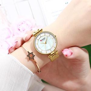 Image 5 - CURREN montre à Quartz Simple en strass, charmante, pour femmes, bracelet en cuir, horloge, collection montre pour femme