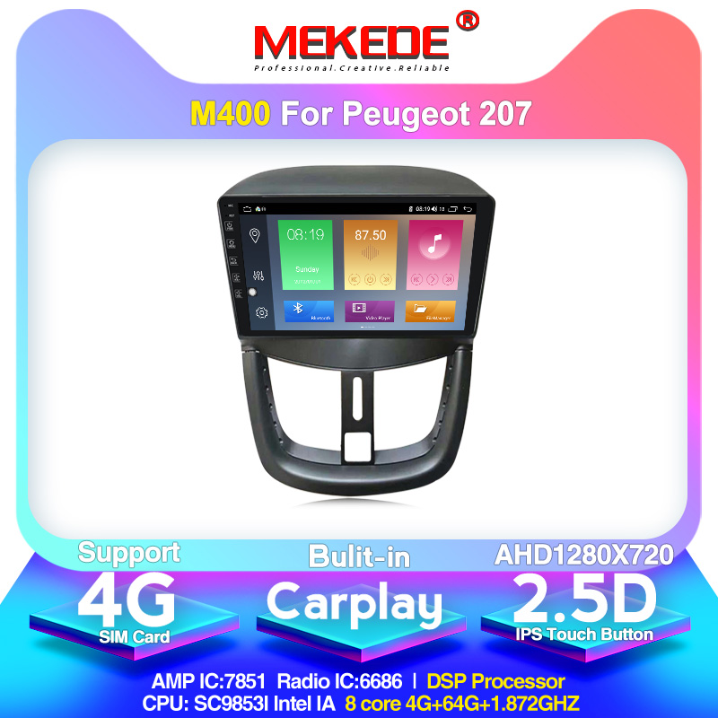 MEKEDE M400 Android 10.0 For Peugeot 207 1 2006 2007 2008 2009 2010 2011 2012 2013 2014 2015 Car Radio Multimedia Video Player