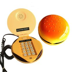 Novidade emulational hamburger telefone fio fixo telefone decoração para casa fio do telefone