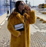 Thick Warm Jacket Parkas Female Winter Women's Lmitation Mink Fuff Coat Fashionable Long Fur Coat Long Sleeve Loose Outwear