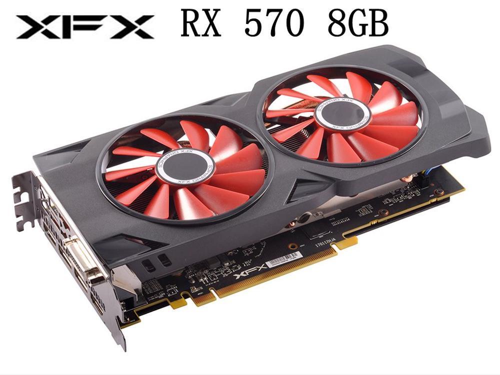 Graphics Cards XFX RX 570 8GB Video Screen Cards GPU AMD Radeon RX570 8GB PUBG Computer Game Map HDMI PCI-E X16 used video card