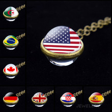 World Country Flags Ball Necklace National Flag USA UK Russia Spain Double Face Glass Ball Cabochon Jewelry Pendant Patriot Gift(China)