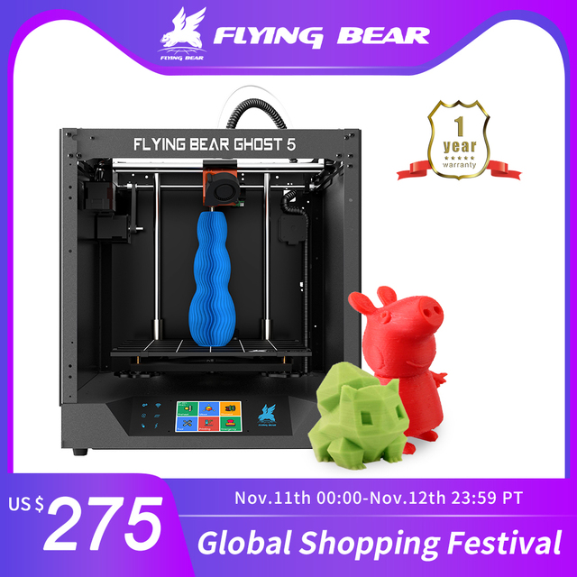 Ship from Russian and EU Warehouse  Flyingbear Ghost 5 3d Printer kit with Touchscreen DIY 3D ПРИНТЕР KIT