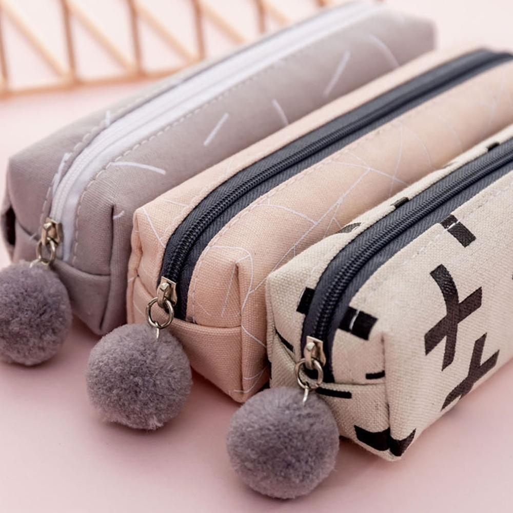Lush Ball Pencil Case For Girls Cute Canvas Cosmetic Supplies Bag Pen Office Pouch Bag Stationery Gift Box Kids Zakka Q9Y1