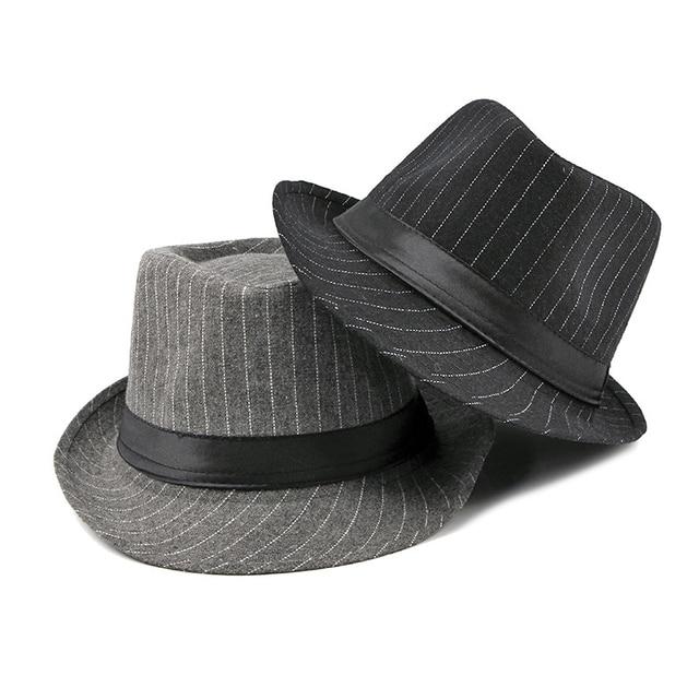 Купить мужская винтажная полосатая шляпа wuaumx фетровая в стиле «джаз» картинки