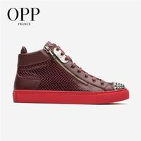 OPP Punk Men Shoes Metal Rivet Shoes Men Hop Hip High Top Men Snakeskin Boots Genuine Leather Zipper Shoes Ankle Boots For Men
