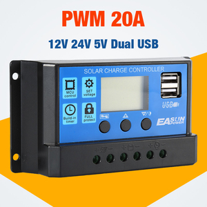 Solar controller 20A 12V 24V Auto Solar Charge Controller PWM With LCD Dual USB 5V Output Solar Cell Panel Regulator PV Home