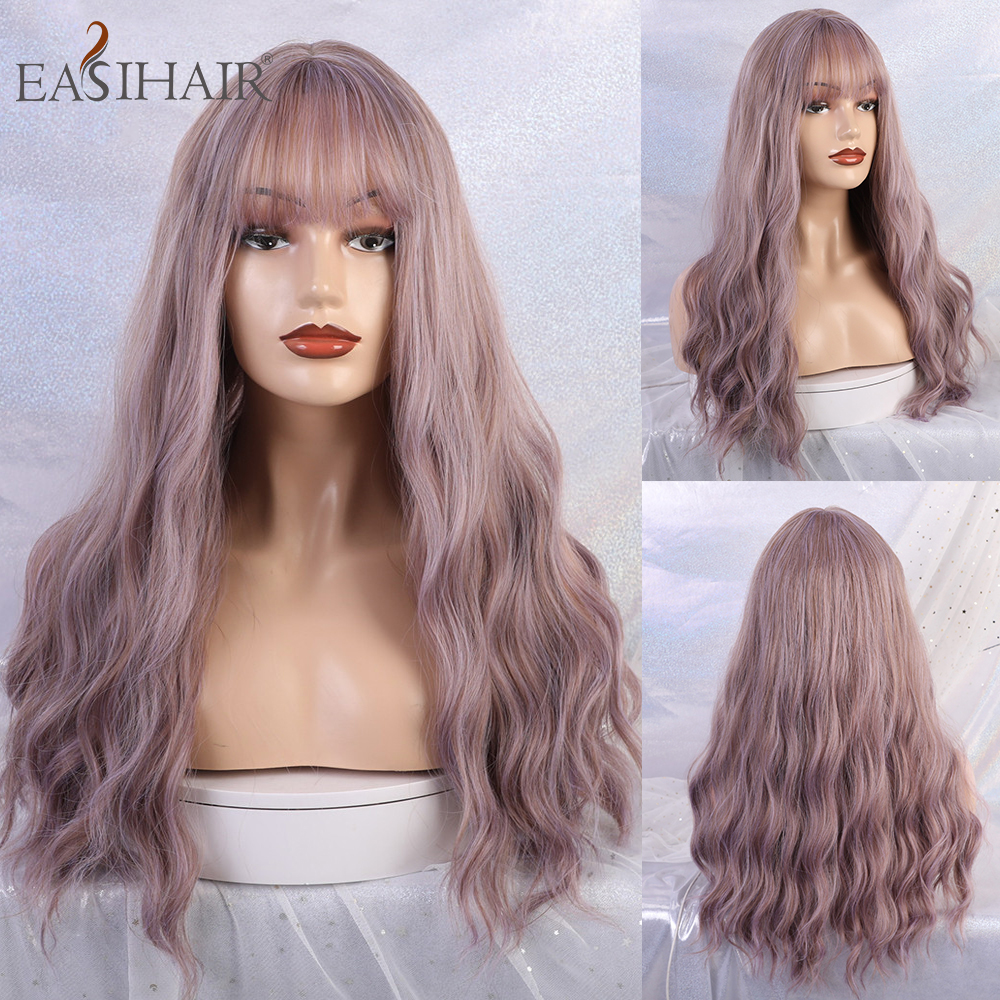 EASIHAIR Long Purple Body Wave Synthetic Wigs With Bangs for Women Wave Hair High Temperature Cosplay Wigs Heat Resistant