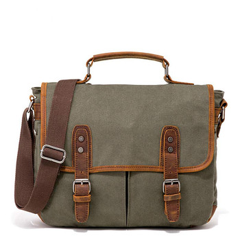 Briefcase Men Canvas Vintage Messenger Bags Fashion Male Bag with leather Business