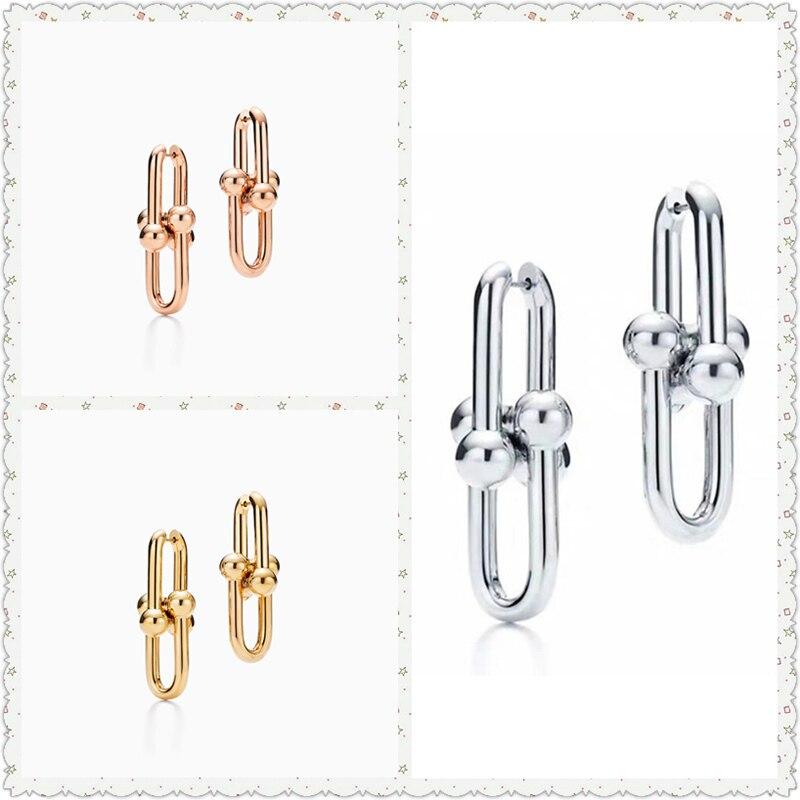 SHINETUNG Original 100% S925 en argent Sterling série HardWear lien boucles d'oreilles à la mode femmes Logo de luxe bijoux haut de gamme