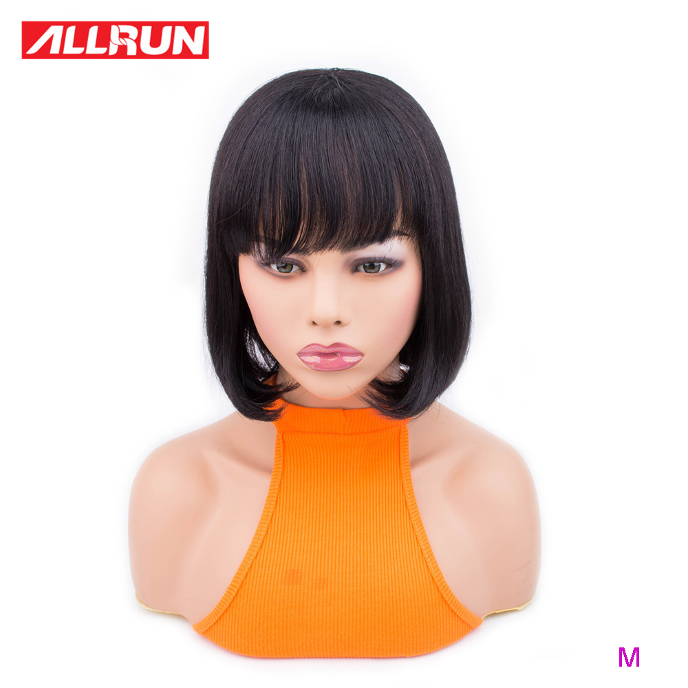 Allrun Machine Made Wig With Bangs Brazilian Non-Remy Straight 10-16