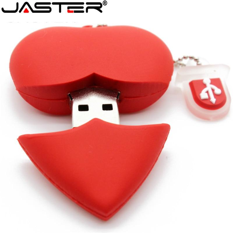 JASTER Love Heart Style Usb Flash Drive Pen Drive 4gb 16gb 32G 64G Usb Stick Pendriver U Disk Thumb Drive Necklace A Good Gift