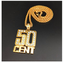 Golden Iced Out 50 CENT Classic Big Pendant Necklace Metal Mens Hip Hop Jewelry Drop Shipping 50 cent rotterdam