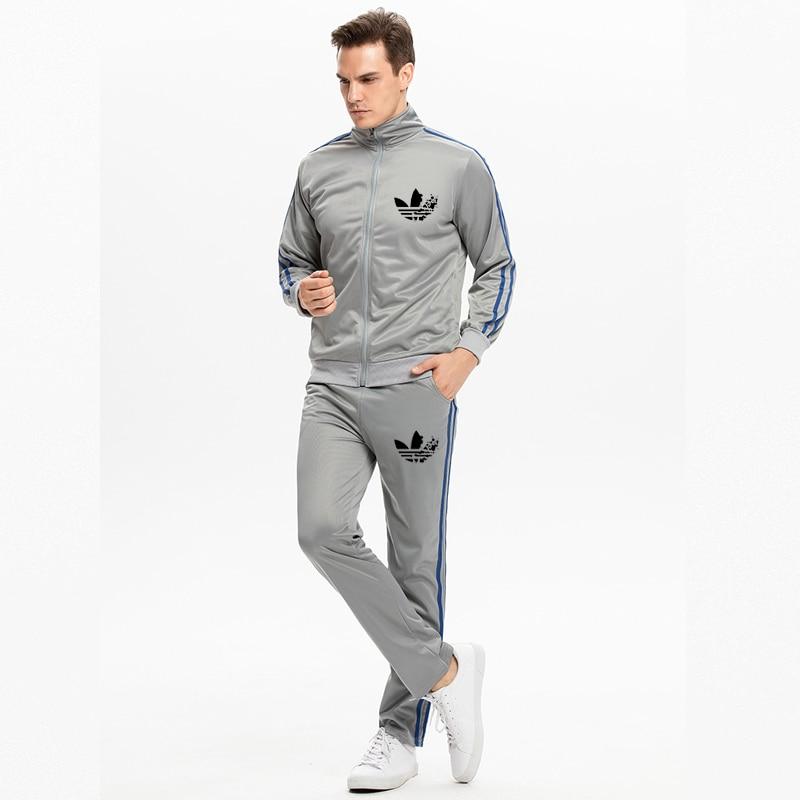 2019 Trend Brand Men's Running Suit Casual Sports Suit Spring Autumn Men Sportswear Zipper Hoodie+Pants Training Suit Youth Suit