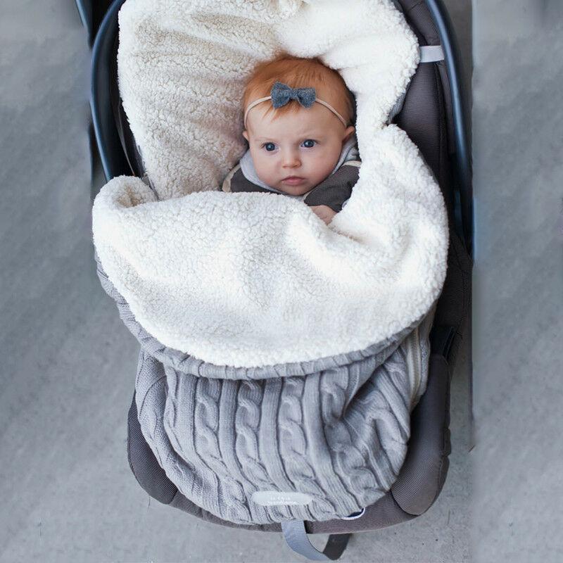 Newborn Baby Hooded Swaddle Knit Wrap Swaddling Blanket Warm Pram Sleeping Bag