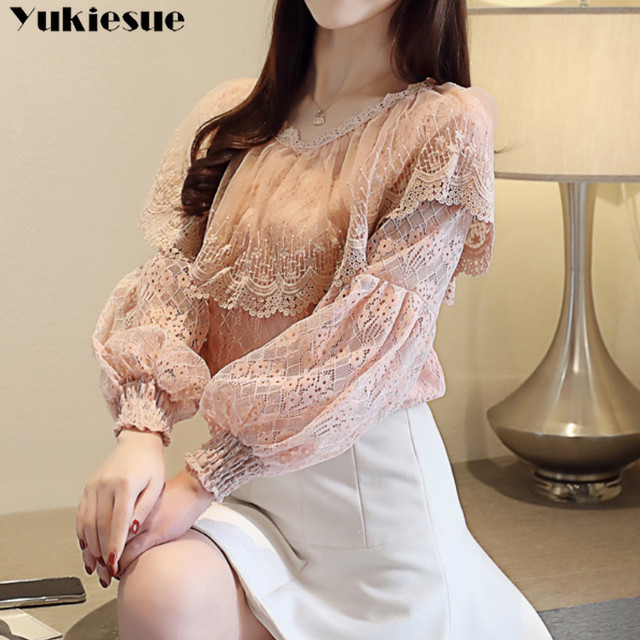 2021 spring elegant hollow out women's shirt blouse for women blusas womens tops and blouses long sleeve lace shirts  plus size 1