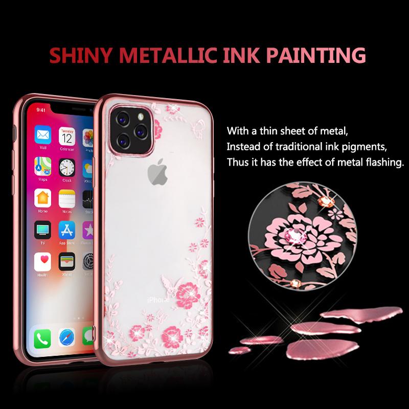 MOESOE Glitter Diamond Flower Case for iPhone 11/11 Pro/11 Pro Max 36