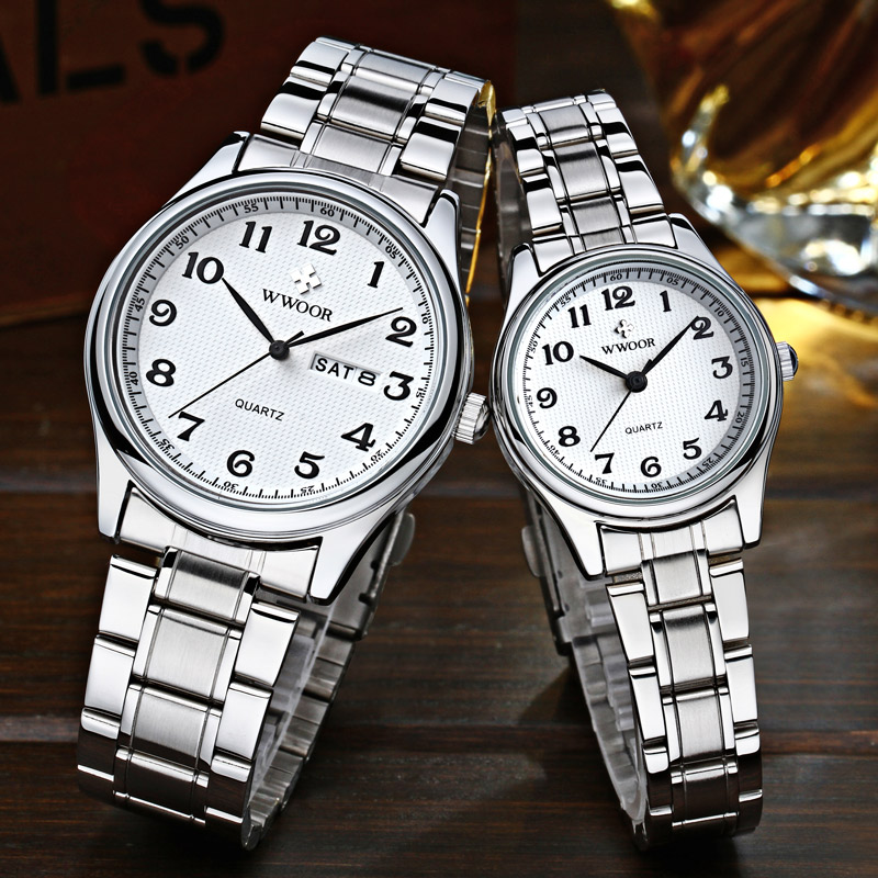 WWOOR Couple Watch Pair Men And Women Top Brand Luxury Silver Quartz Clock Male Female Gift Watch Lover Souvenir Relogios Casais