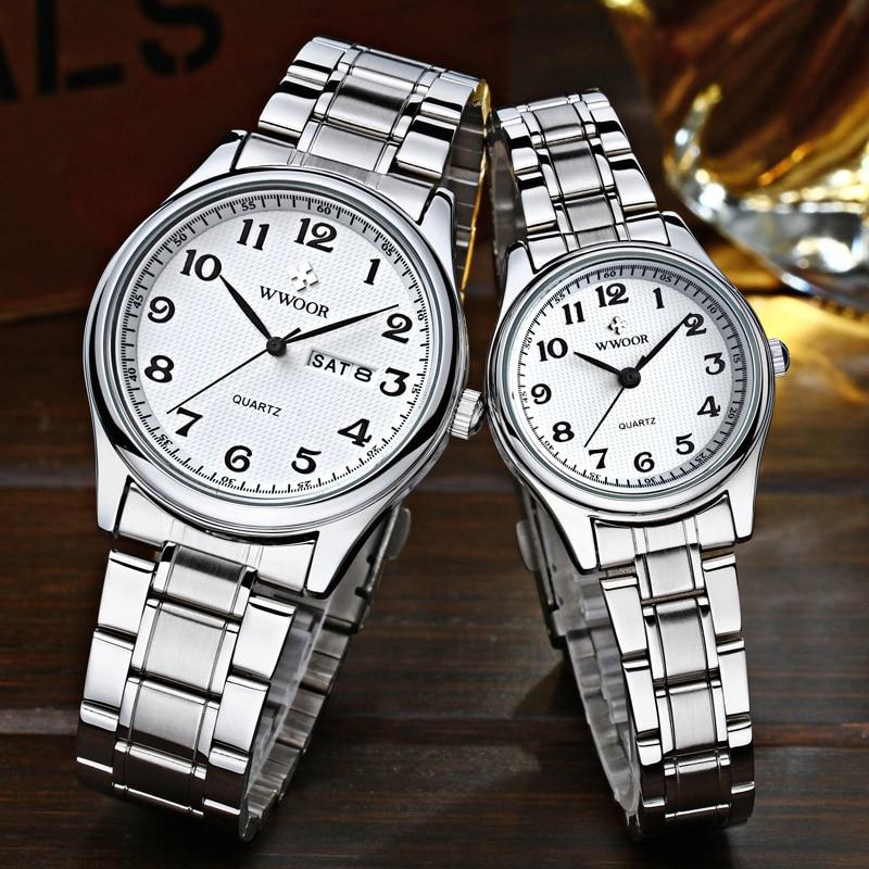 WWOOR Couple Watch Pair Men And Women Top Brand Luxury Silver Quartz Clock Male Female Gift Watch Lover Souvenir Relogios Casais