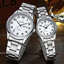 Часы wwoor парные для мужчин и женщин роскошные Серебристые