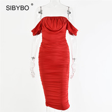 Sibybo Spring Off Shoulder Pleated Sexy Dress Women Fashion Strapless Summer Party Dress Backless Beach Ladies Casual Dresses