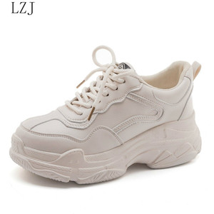 Image 5 - Size 35 40 2019 New Casual Womens Sneakers Lace Up Platform Shoes Woman For Thick Soled Vulcanize Shoes Comfortable Footwear