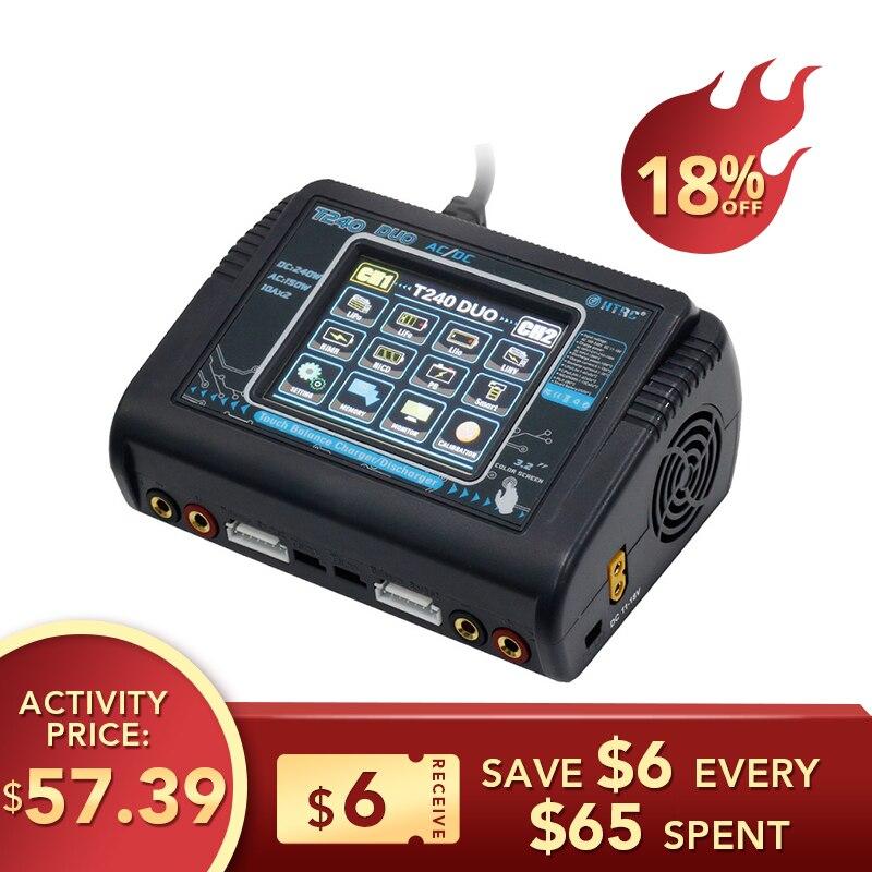 HTRC T240 DUO AC 150W DC 240W 10A écran tactile double canal batterie Balance chargeur chargeur pour RC modèles jouets